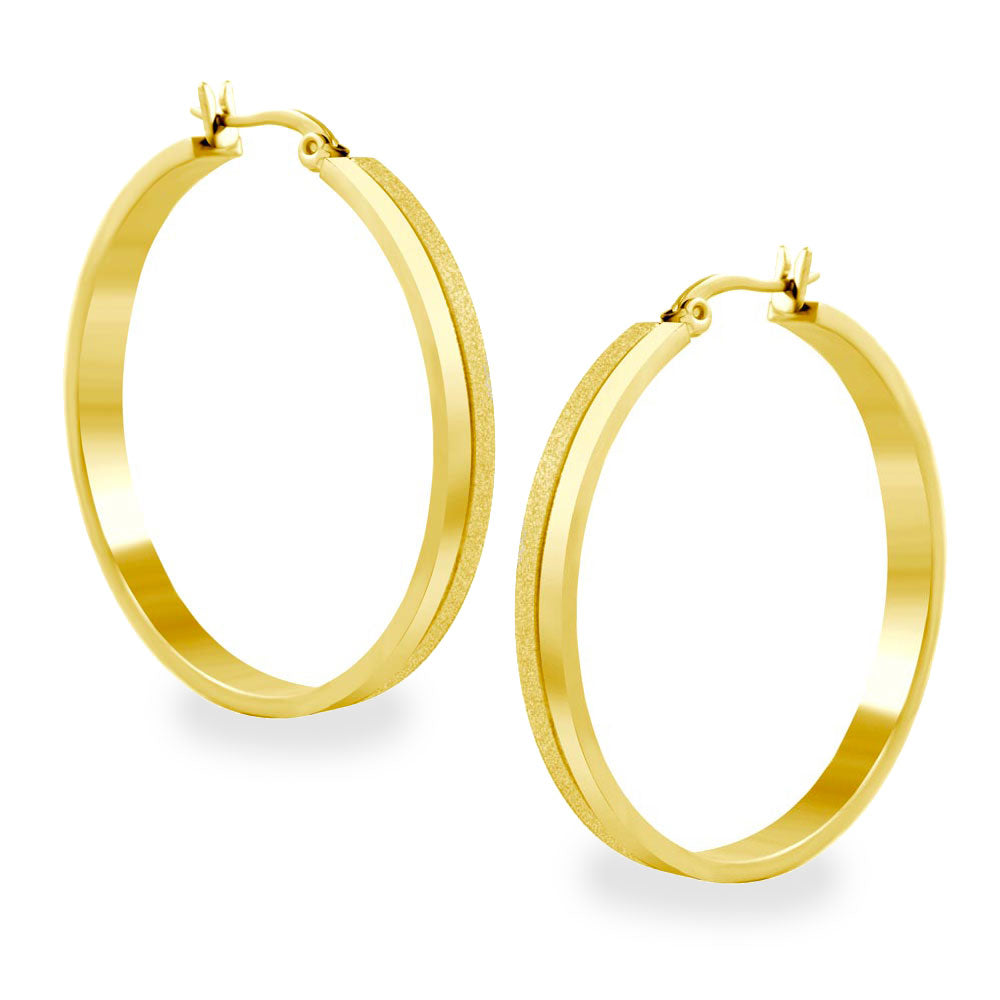FSER75-B Stainless Steel & Gold Hoop Earrings