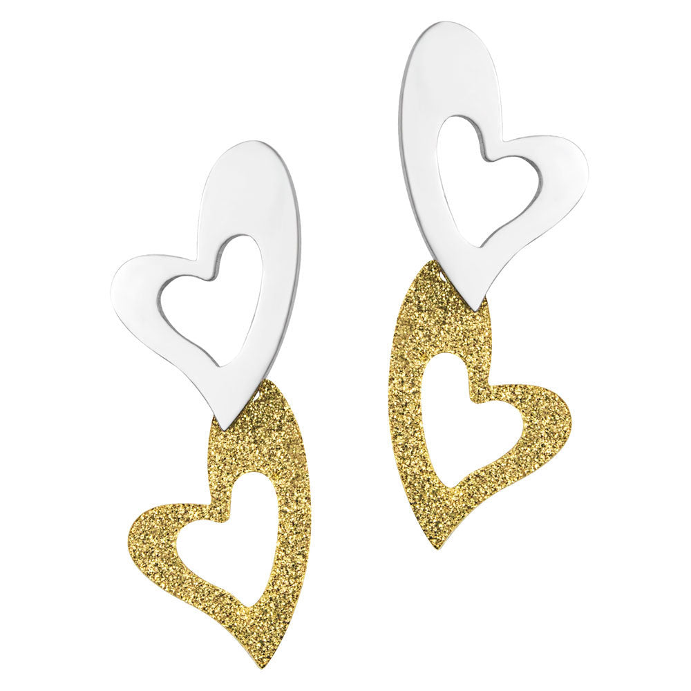 FSER81-B Stainless Steel Heart Dangling Earrings