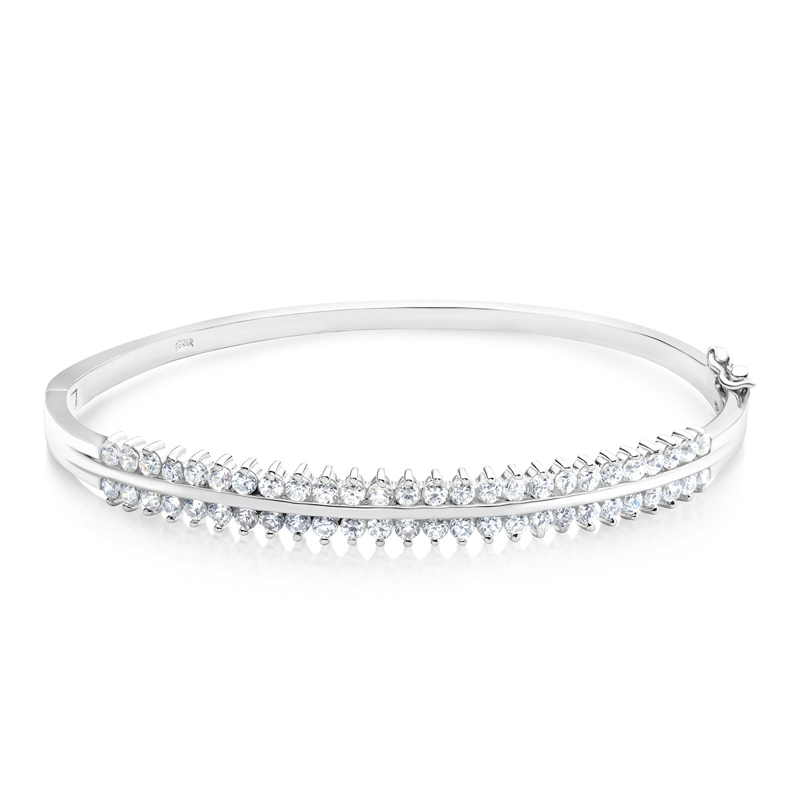 MD-SLBG001 Silver 2 Row Bangle Bracelet