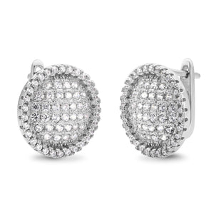 MD-SLER046 Silver Round Button Earrings