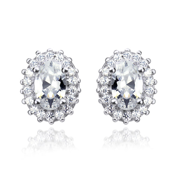 MD-SLER102 Silver Oval Cluster Stud Earrings