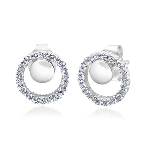 MD-SLER123 Silver Circle Stud Earrings