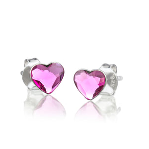 MD-SWE17-A2 Silver Heart Swarovski Stud Earrings