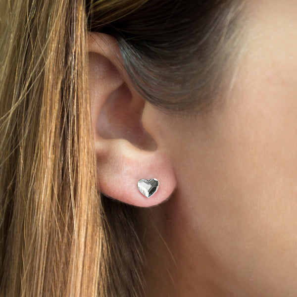 MD-SWE17-A4 Silver Swarovski Heart Stud Earrings