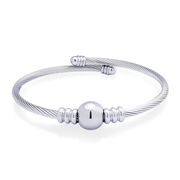 MNC-BG330-A Stainless Steel Coil Cuff Bracelet