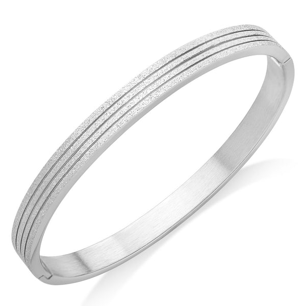 MNC-BG361-A Stainless Steel Frosted Bangle Bracelet