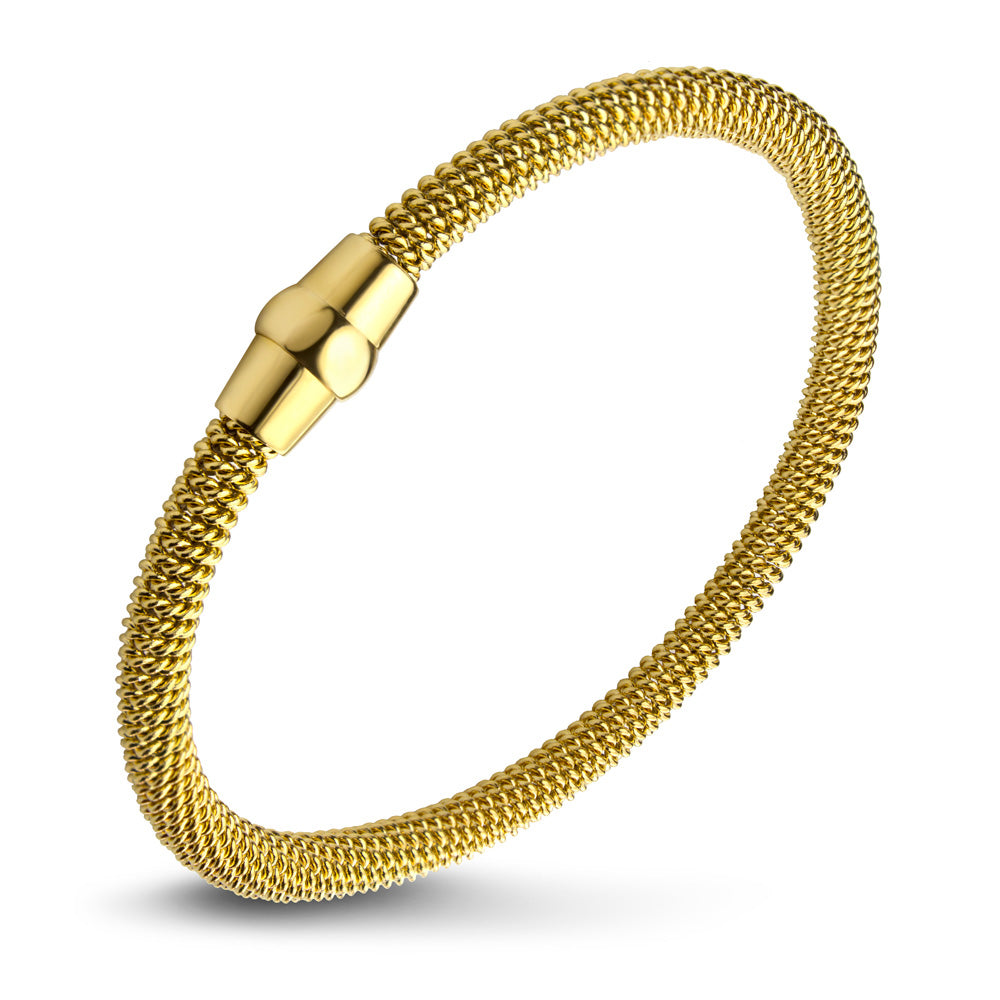MNC-BR338-B Stainless Steel & Gold Bangle Bracelet