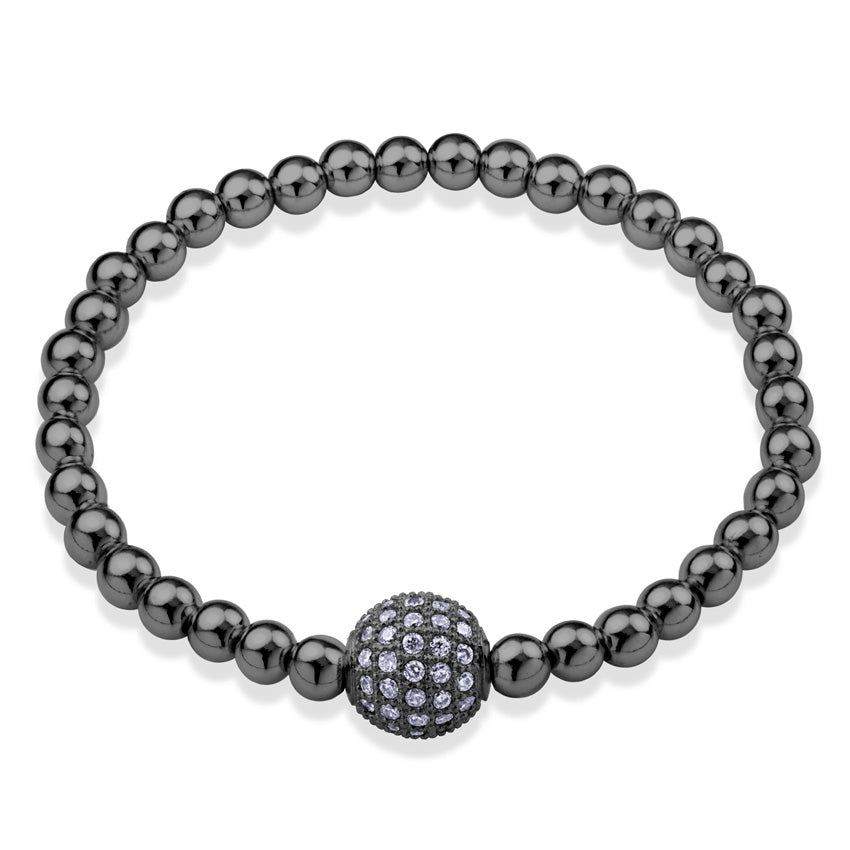 MNC-BR362-D Stainless Steel & Black Ball Bracelet