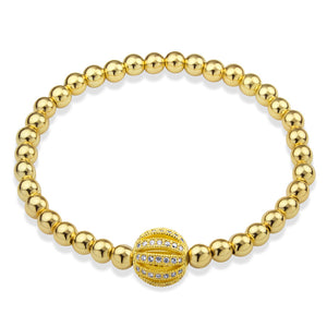 MNC-BR365-B Steel & Gold Ball Bracelet