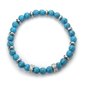 MNC-BR445-BL Stainless Steel & Turquoise Bracelet