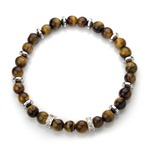 MNC-BR445-BN Stainless Steel & Tiger Eye Bracelet