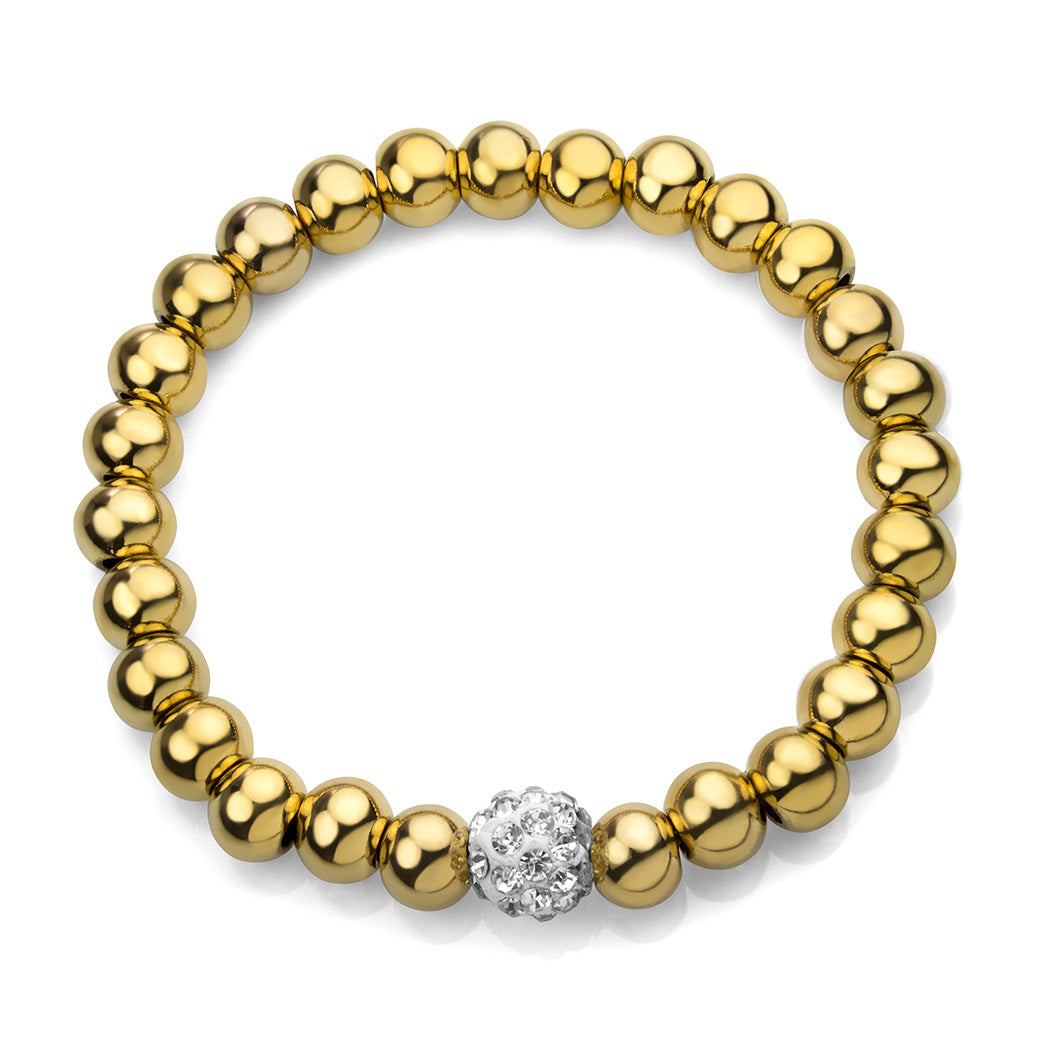 MNC-BR446-B Stainless Steel Thick Beaded Bracelet