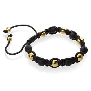 MNC-BR459-B Steel, Gold & Black Ball Bracelet