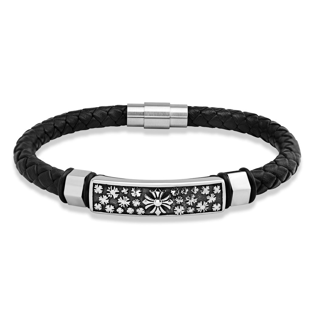MNC-BR525-A Stainless Steel & Leather Bracelet