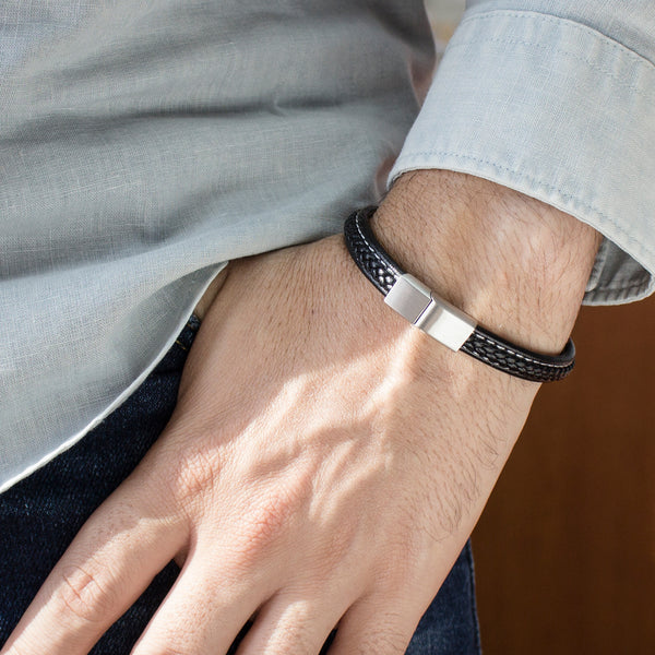 MNC-BR538-A Steel & Leather Stitched Bracelet