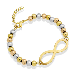 MNC-BR548-MT Steel Tri-Color Infiniti Bracelet