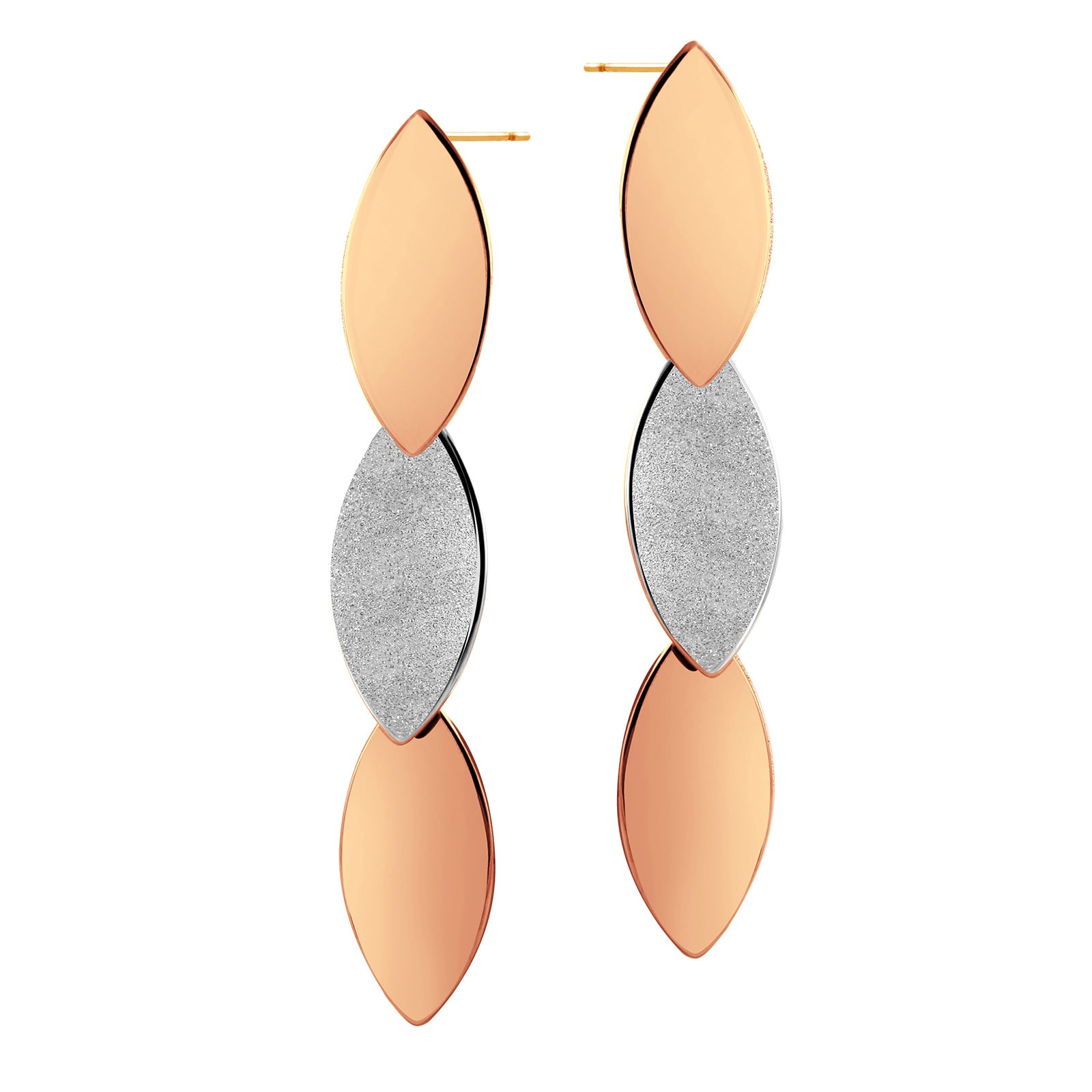 MNC-ER120-C5 Steel & Rose Gold Dangling Earrings