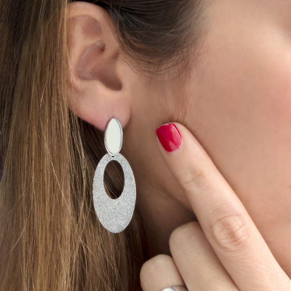 MNC-ER136-A Steel Oval Dangling Earrings