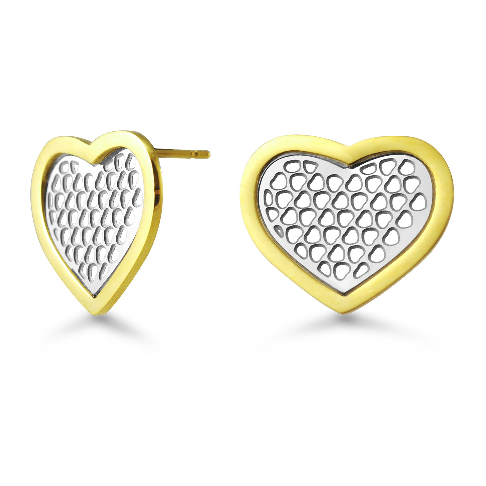 MNC-ER300-B  Stainless Steel & Gold Heart Stud Earrings