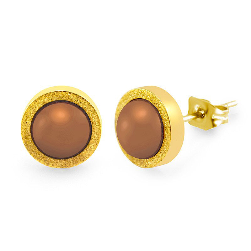 MNC-ER305-B2 Stainless Steel & Brown Stud Earrings
