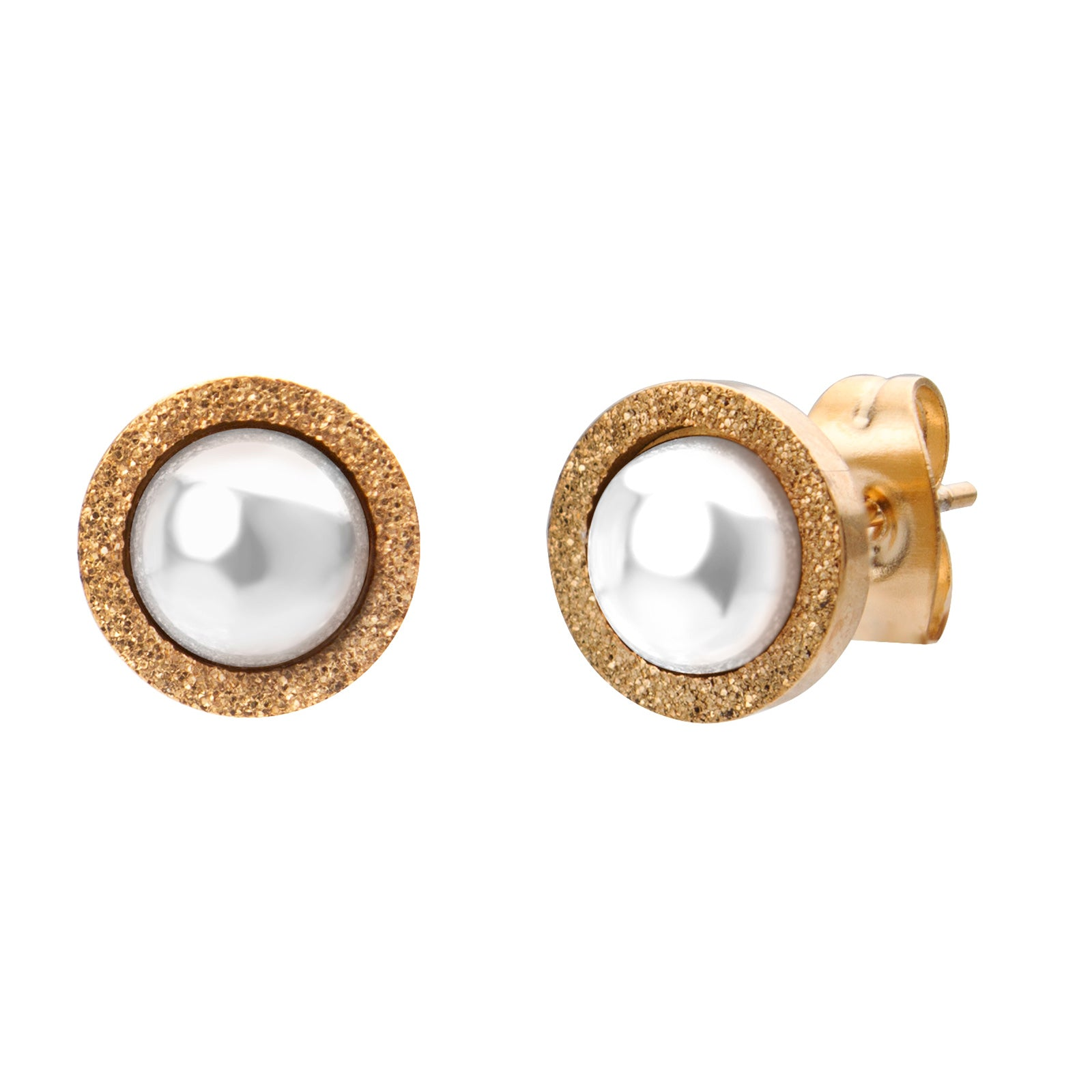 MNC-ER305-C Steel & Pearl Stud Earrings
