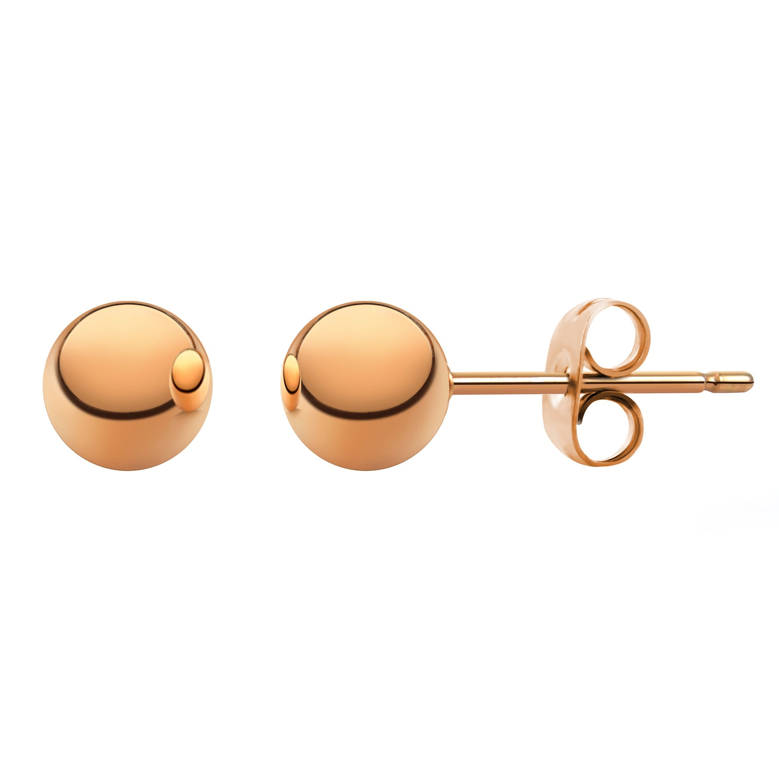 MNC-ER340-C-5mm Steel & Rose Gold Ball Stud Earrings