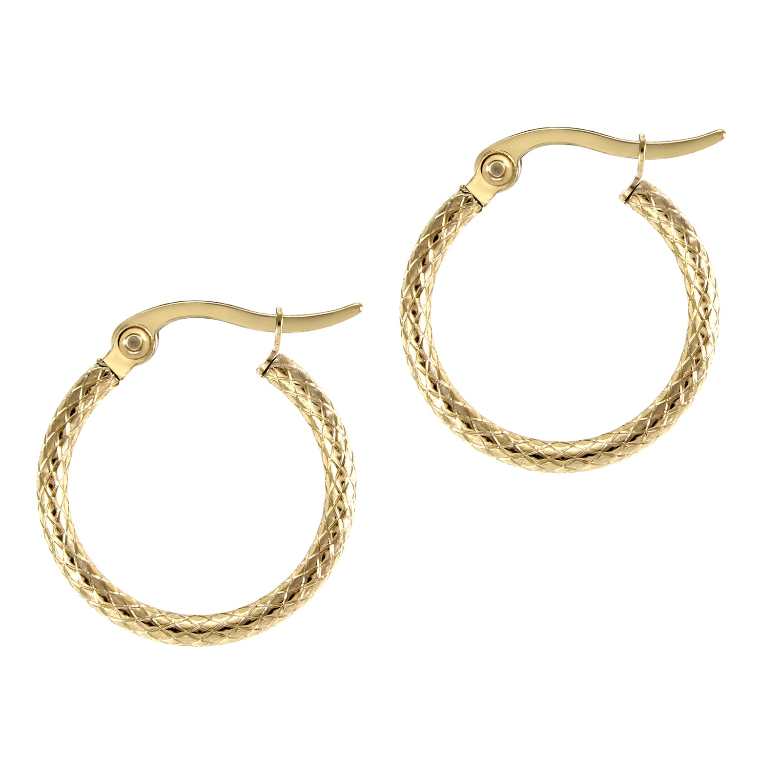 MNC-ER343-B2-22mm Steel & Gold Textured Hoop Earrings
