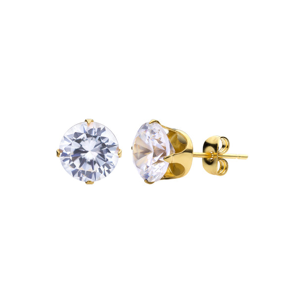 MNC-ER430-B-8mm Stainless Steel & Gold Stud Earrings