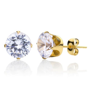 MNC-ER430-B-3mm Steel & Gold Tiny Stud Earrings