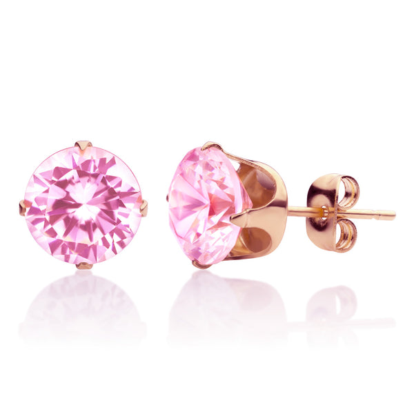 MNC-ER430-C3-5mm Steel & RG Pink Stud Earrings