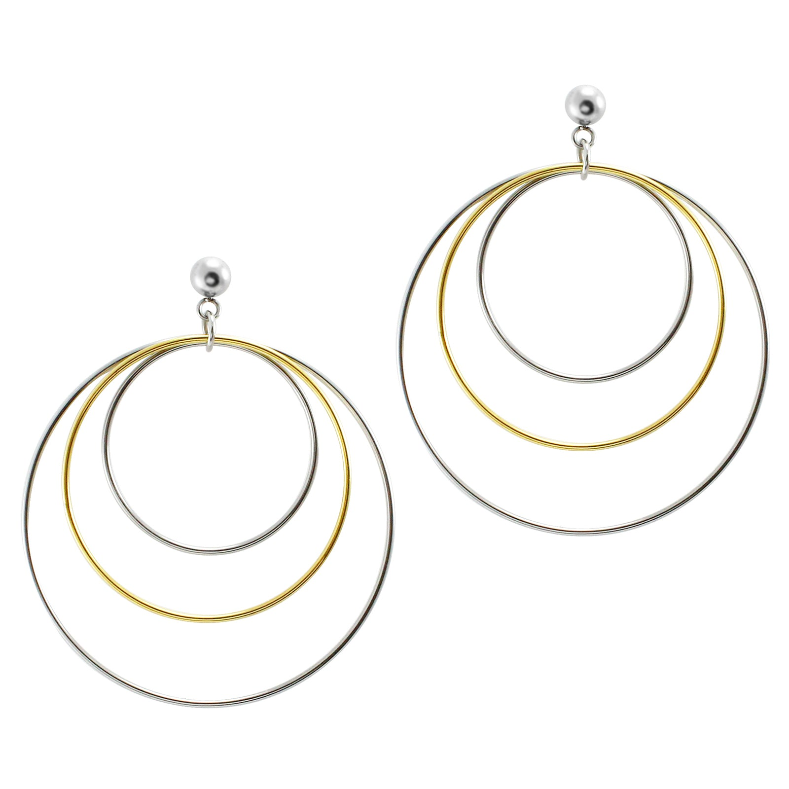 MNC-ER438-B Stainless Steel & Gold Circle Earrings