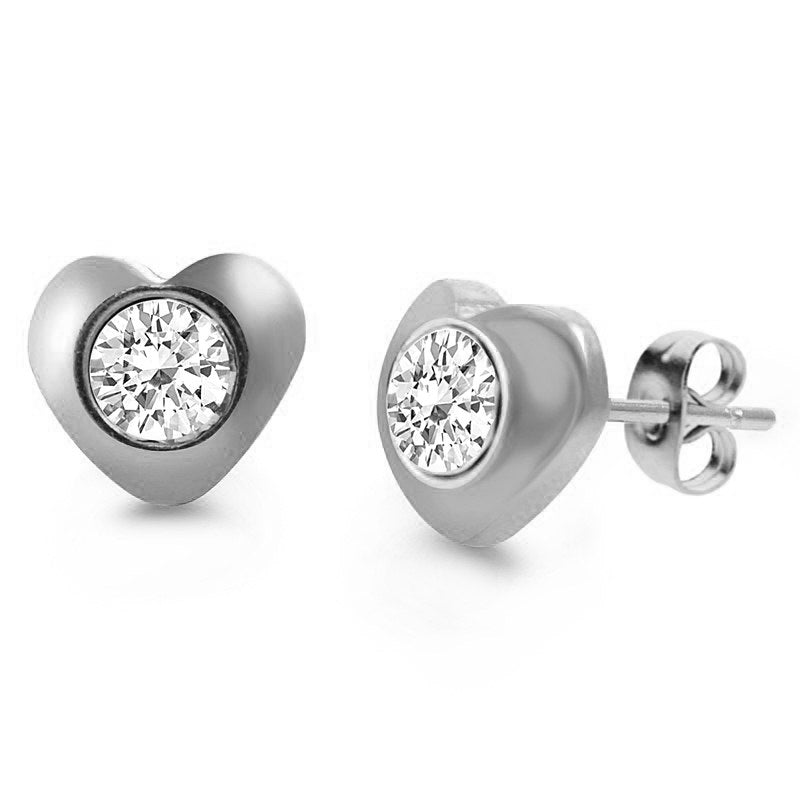 MNC-ER451-A Stainless Steel Heart Stud Earrings