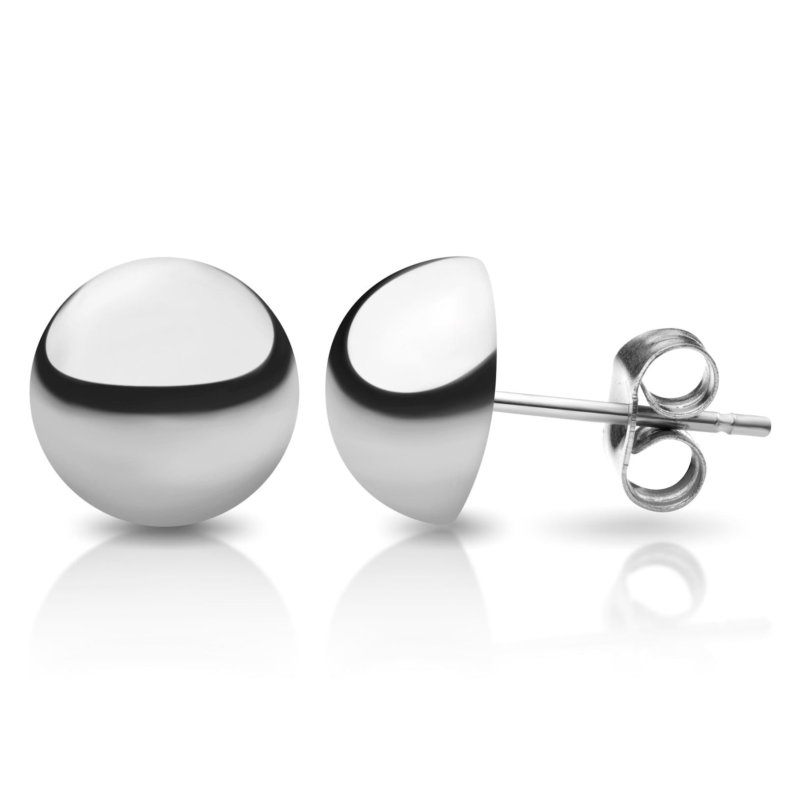 MNC-ER456-A-7mm Stainless Steel Domed Stud Earrings