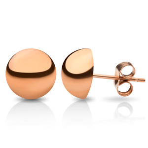 MNC-ER456-C-12mm Steel & Rose Gold Domed Stud Earrings