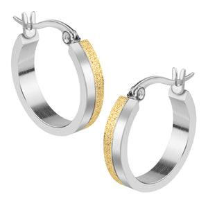 MNC-ER512-B Half Steel Half GP Hoop Earrings