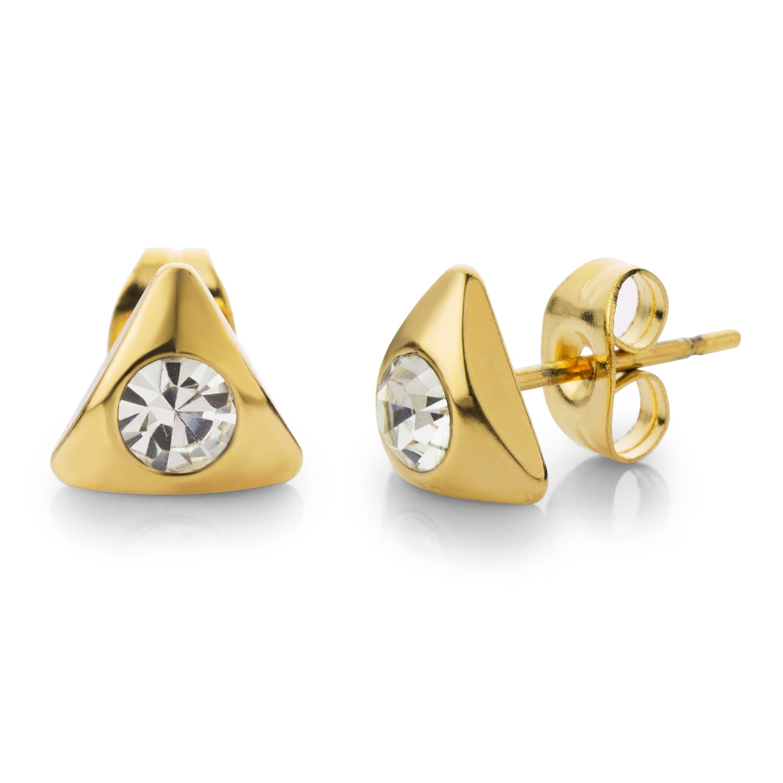 MNC-ER526-B Steel & Gold Triangle Stud Earrings