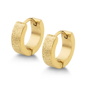 MNC-ER560-B Steel & Gold Huggie Earrings