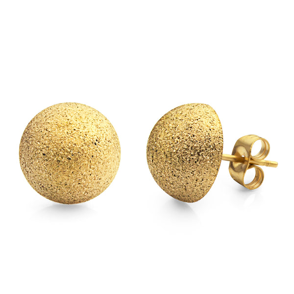 MNC-ER561-B-12mm Steel & Gold Domed Earrings