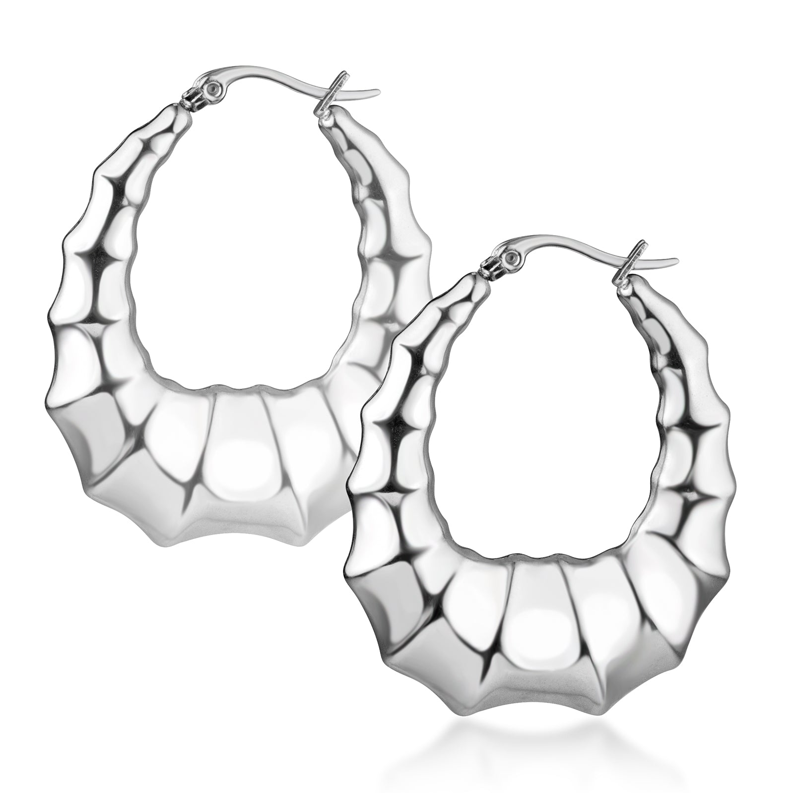 MNC-ER564-A Stainless Steel Puffy Hoop Earrings