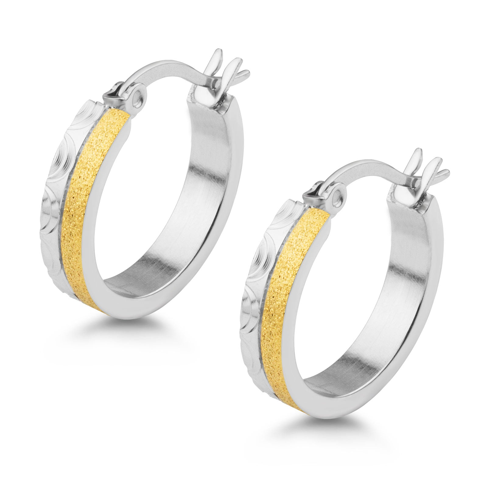 MNC-ER572-B Steel & Gold Hoop Earrings