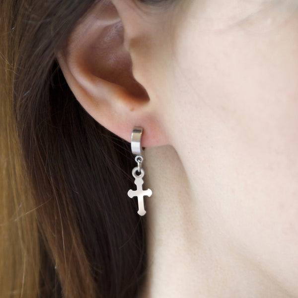 MNC-ER640-A Stainless Steel Huggie Cross Earrings