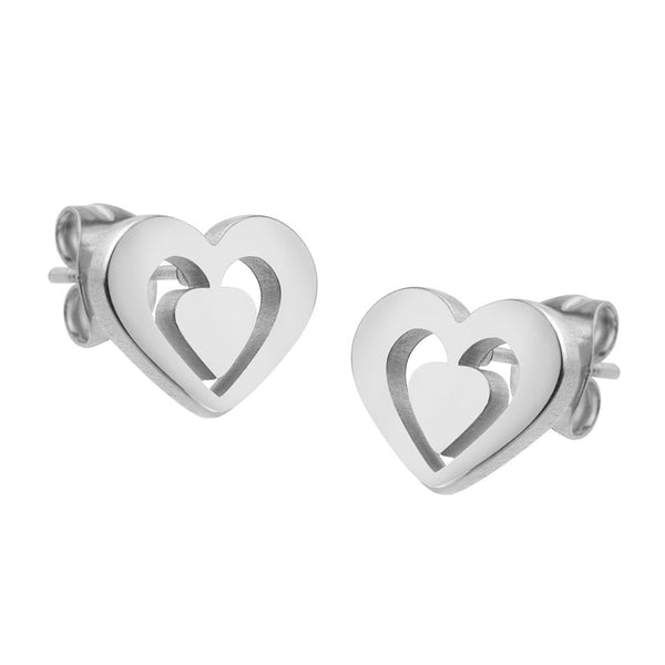MNC-ER657-A Steel Heart Stud Earrings