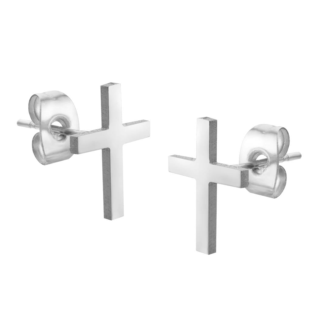 MNC-ER679-A Stainless Steel Cross Earrings