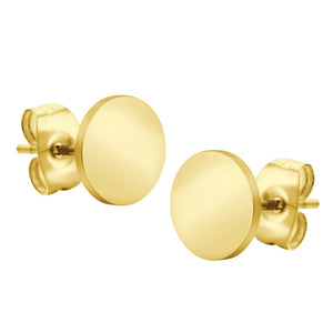 MNC-ER680-B Stainless Steel & Gold Round Stud Earrings