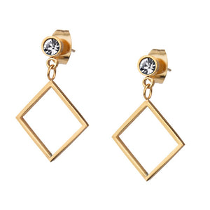 MNC-ER753-C Steel & Rose Gold Square Dangling Earrings