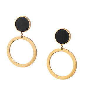MNC-ER762-C Steel, RG and Black Dangling Earrings