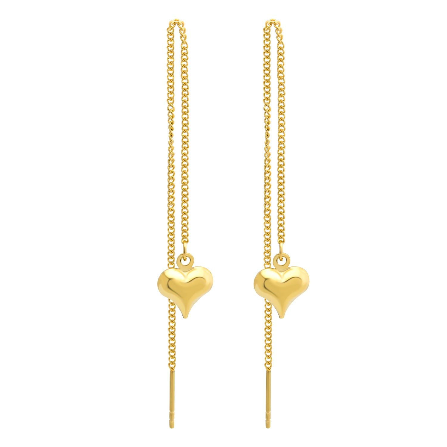 MNC-ER797-B Stainless Steel & Gold Threaded Heart Earrings