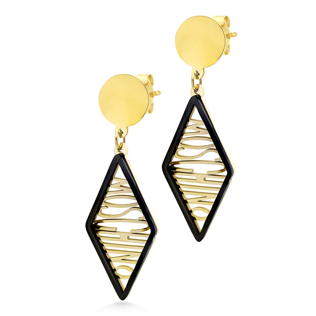 MNC-ER899-B Stainless Steel & Gold Dangling Earrings