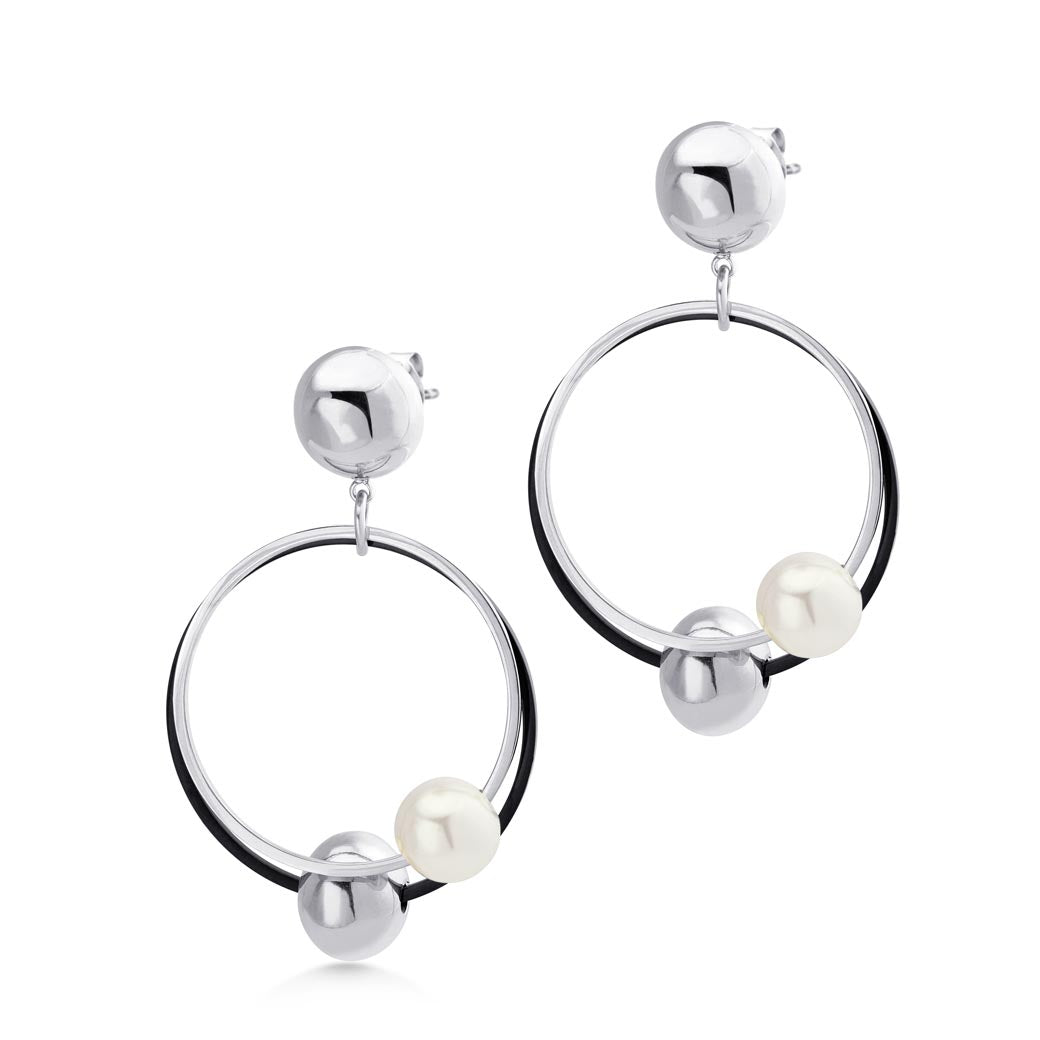 MNC-ER900-A Steel & Pearl Dangling Earrings
