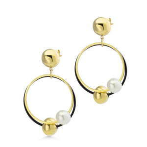 MNC-ER900-B Steel, Black, Gold & Pearl Dangling Earrings